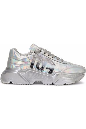 Dolce & Gabbana Holographic-effect lace-up sneakers
