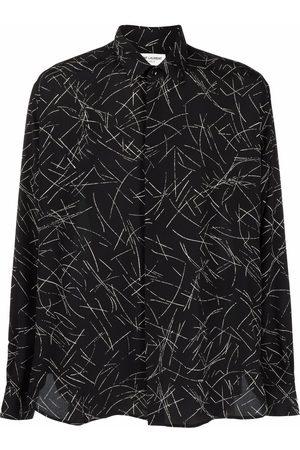Saint Laurent Heren T-shirts - Graphic-print silk shirt