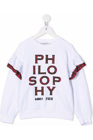 PHILOSOPHY DI LORENZO SERAFINI Tartan check appliqué-logo sweatshirt