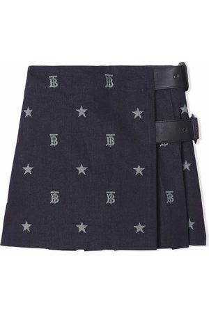 Burberry Kids Star and monogram motif Japanese denim kilt