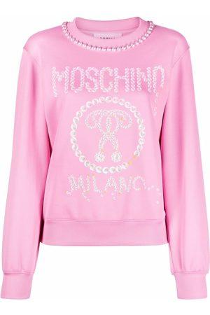 Moschino Dames Casual jurken - Logo-print pearl-embellished sweatshirt dress