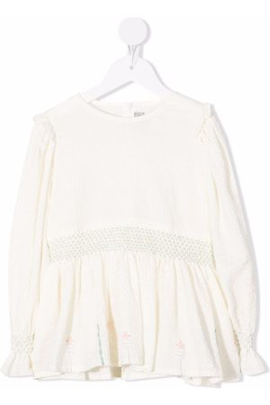 Il Gufo Seersucker embroidered blouse