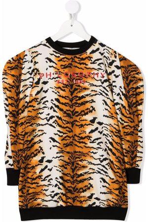 PHILOSOPHY DI LORENZO SERAFINI Tiger-stripe logo jumper dress