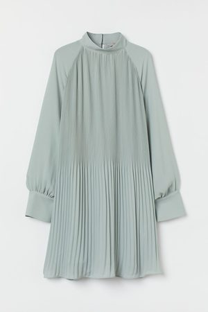H & M Dames Jurken - Plisséjurk - Turquoise
