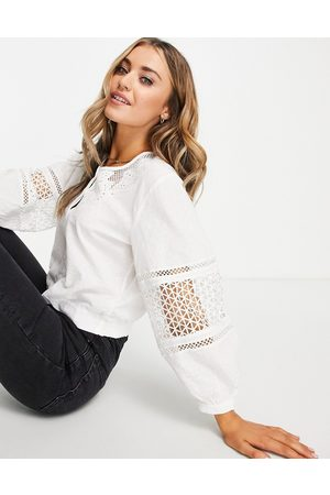 French Connection Volume sleeve broderie blouse in white