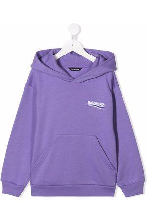 Balenciaga Kids Jongens Hoodies - Logo-print slouch hoodie
