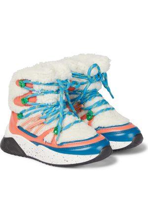 Stella McCartney Colorblocked fleece-trimmed ankle boots