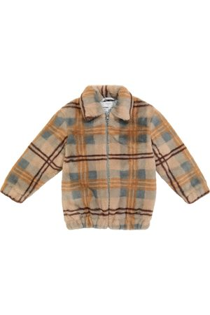 paade mode Checked faux fur jacket