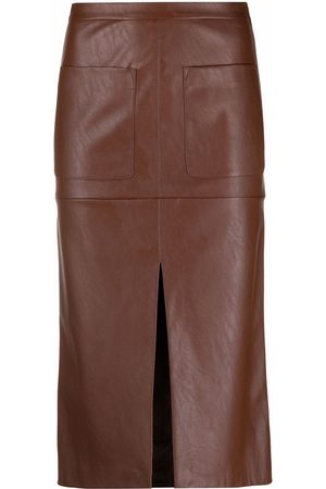 Pinko High-waisted faux-leather skirt
