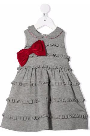 Monnalisa Bow-detail ruffled midi dress