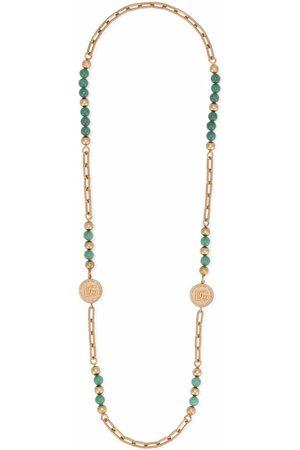 Dolce & Gabbana Beaded logo charm necklace
