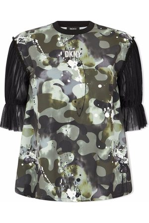 DKNY Camouflage-print tulle-sleeve T-shirt