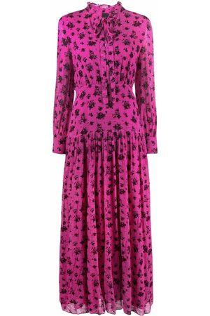 Pinko Dames Geprinte jurken - Floral-print ruffle-collar dress