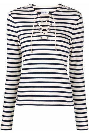 Saint Laurent Striped lace-up T-shirt