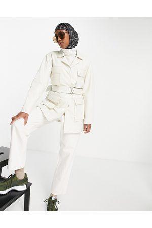 Muubaa Chloe longline belted utility leather jacket in cream-White