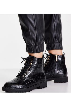 Miss KG Wide fit hannah lace up patent boots in black