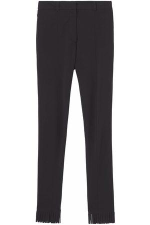 Burberry High-waisted fringed-edge leggings
