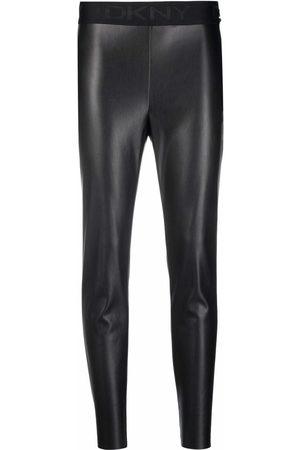 DKNY Dames Leggings - Faux-leather cropped leggings