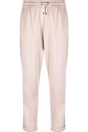 Brunello Cucinelli Dames Joggingbroeken - Contrast-trim silk-blend track pants