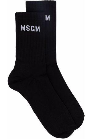 Msgm Heren Sokken - Ribbed-knit logo socks