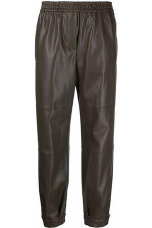NUDE Dames Leren broeken - Faux-leather slip-on trousers