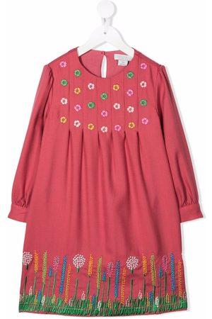 Stella McCartney Floral-embroidered long-sleeve midi dress