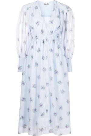 Ganni Dames Geprinte jurken - Puff-sleeve floral-print midi dress
