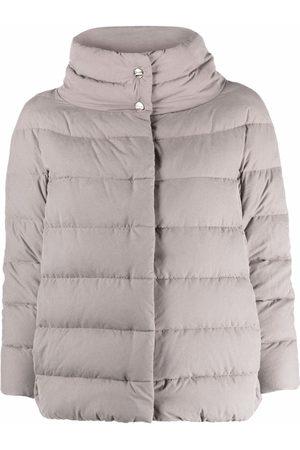 HERNO Wide-neck suede-effect jacket