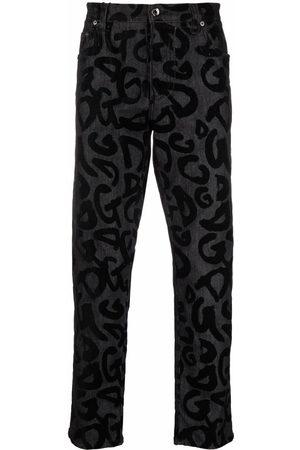 Dolce & Gabbana Flocked-logo straight-leg jeans