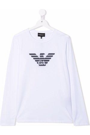 Emporio Armani TEEN long-sleeved eagle logo T-shirt