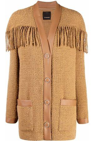 Pinko Fringed tweed single-breasted coat