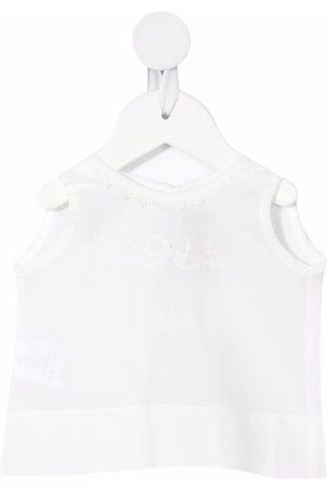 LA STUPENDERIA Embroidered sleeveless top