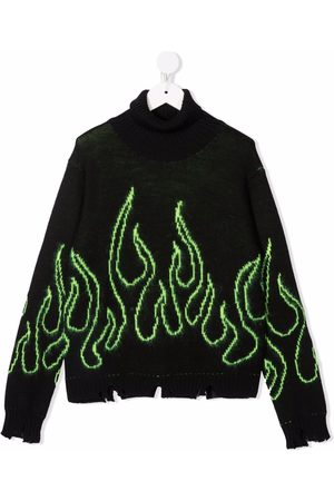 Vision Of Super Jongens Sweaters - Flame-stitching rollneck sweater