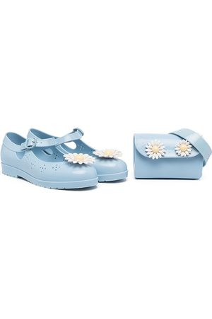 Mini Melissa Meisjes Instappers - Daisy-embellished ballerinas and pouch