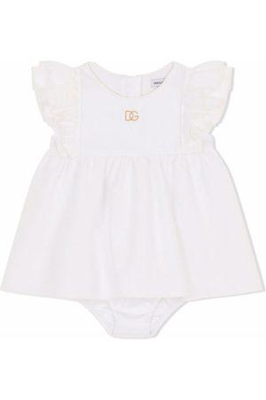 Dolce & Gabbana Meisjes Feestjurken - Logo embroidered cotton dress