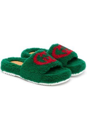 Gucci Jongens Slippers - Interlocking G faux-fur slides