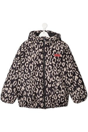 Kenzo Logo-embroidered leopard-print puffer jacket