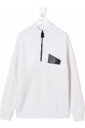 Emporio Armani Truien - Logo-patch half-zip jumper