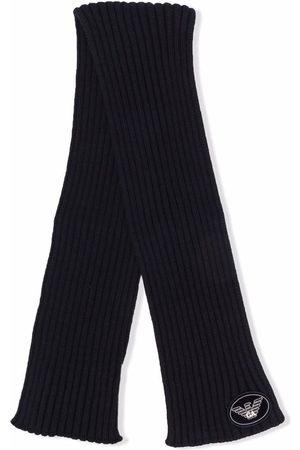 Emporio Armani Logo-patch ribbed knit scarf