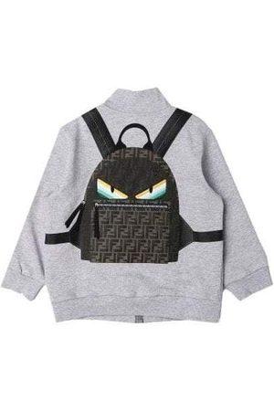 Fendi Kids Zip Top With 3D Backpack Print - GREY 12+ YEARS