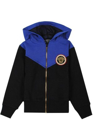 VERSACE Young Black and Blue Hoodie - BLACK LARGE