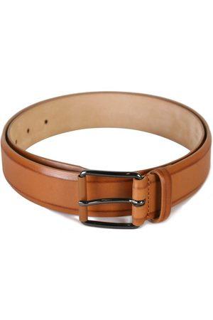 Armani Men's Calfskin Leather Belt Tan - BROWN 34 30