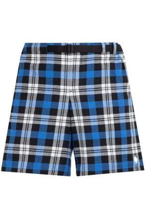 MARCELO BURLON Checkered Belt Shorts - BLUE LARGE