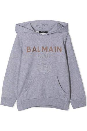 Balmain Boys Gold Logo Hoodie Grey - GREY 8 YEARS