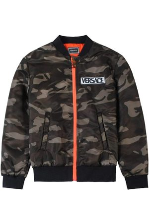 VERSACE Young Camo Bomber Jacket - GREEN 10 YEARS