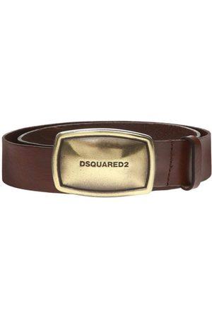 Dsquared2 Men's Gold Business Plaque Belt Brown - BROWN 34