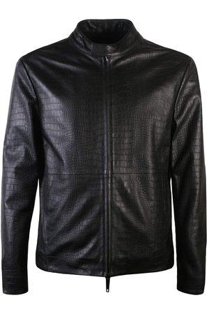 Armani Men's Leather Bomber Jacket Black - BLACK EXTRA EXTRA LARGE