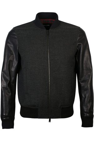 Dsquared2 Heren Leren jassen - Men's Leather Sleeved Bomber Jacket Black - BLACK EXTRA EXTRA LARGE