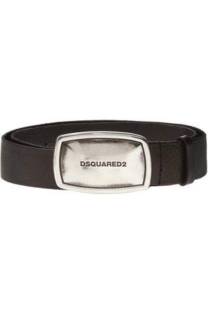 Dsquared2 Men's Silver Business Plaque Belt Black - BLACK 34