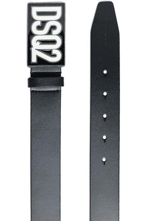 Dsquared2 Kids Logo Plaque Leather Belt Black - IV BLACK